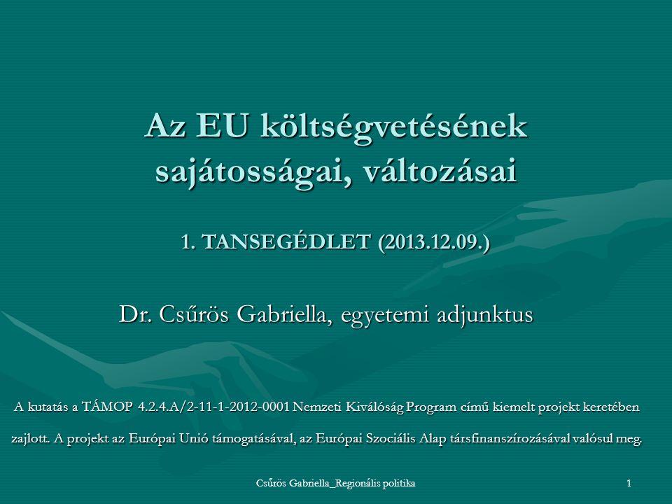 Az EU költségvetésének sajátosságai, változásai 1. TANSEGÉDLET (2013
