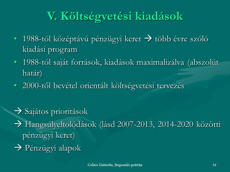 V. Költségvetési kiadások