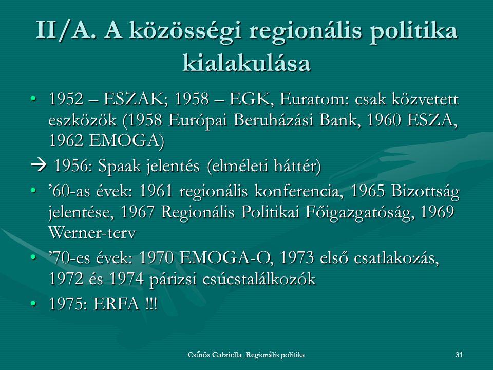 II/A. A közösségi regionális politika kialakulása