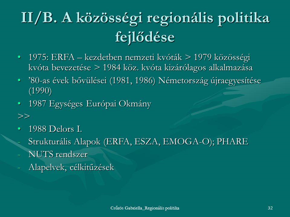 II/B. A közösségi regionális politika fejlődése