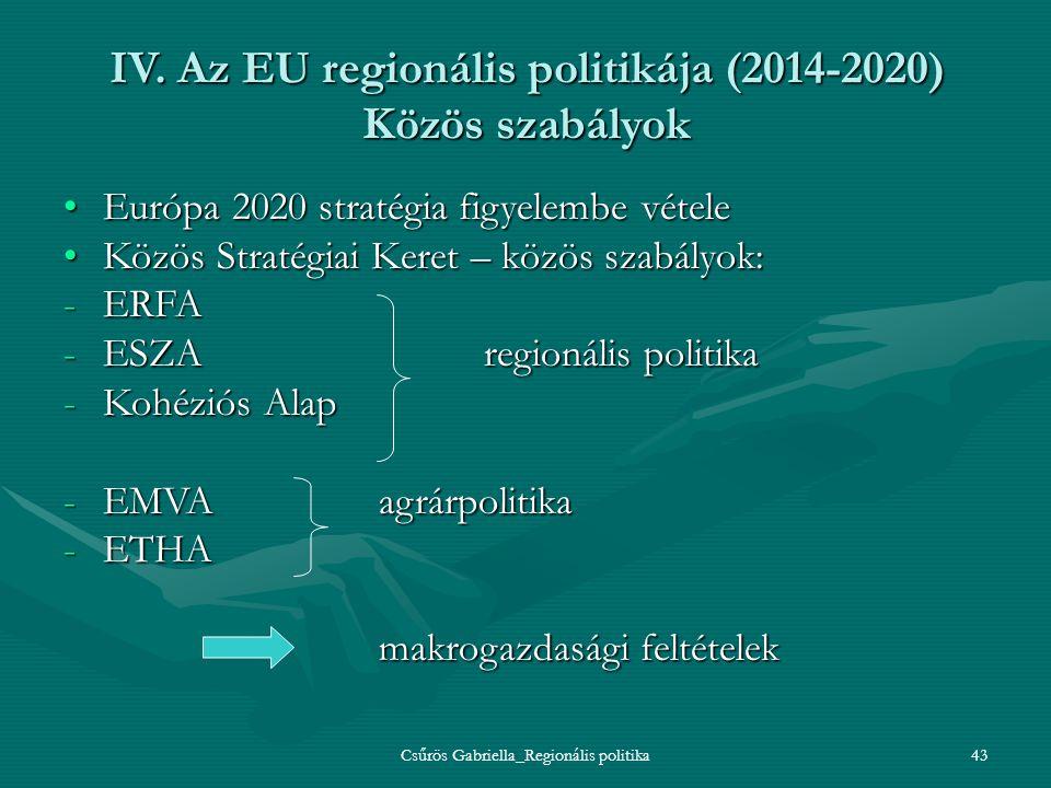 IV. Az EU regionális politikája (2014-2020) Közös szabályok