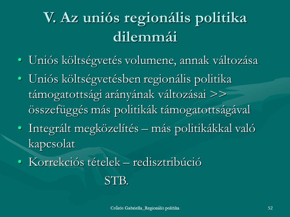 V. Az uniós regionális politika dilemmái