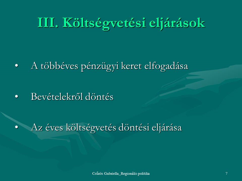 III. Költségvetési eljárások