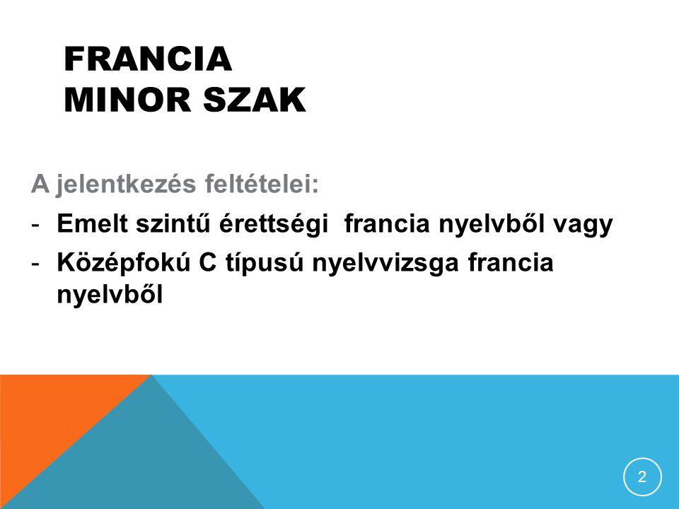 FRANCIA MINOR SZAK A jelentkezés feltételei: