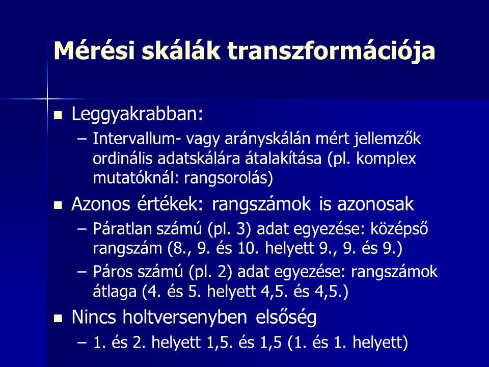 Mérési skálák transzformációja