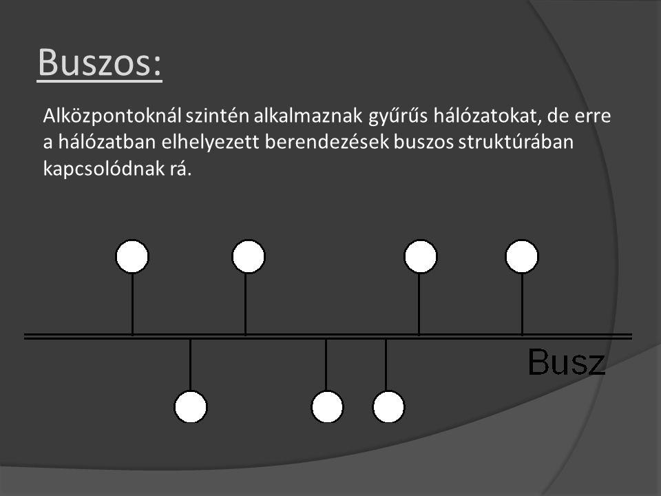 Buszos: Alközpontoknál szintén alkalmaznak gyűrűs hálózatokat, de erre a hálózatban elhelyezett berendezések buszos struktúrában kapcsolódnak rá.
