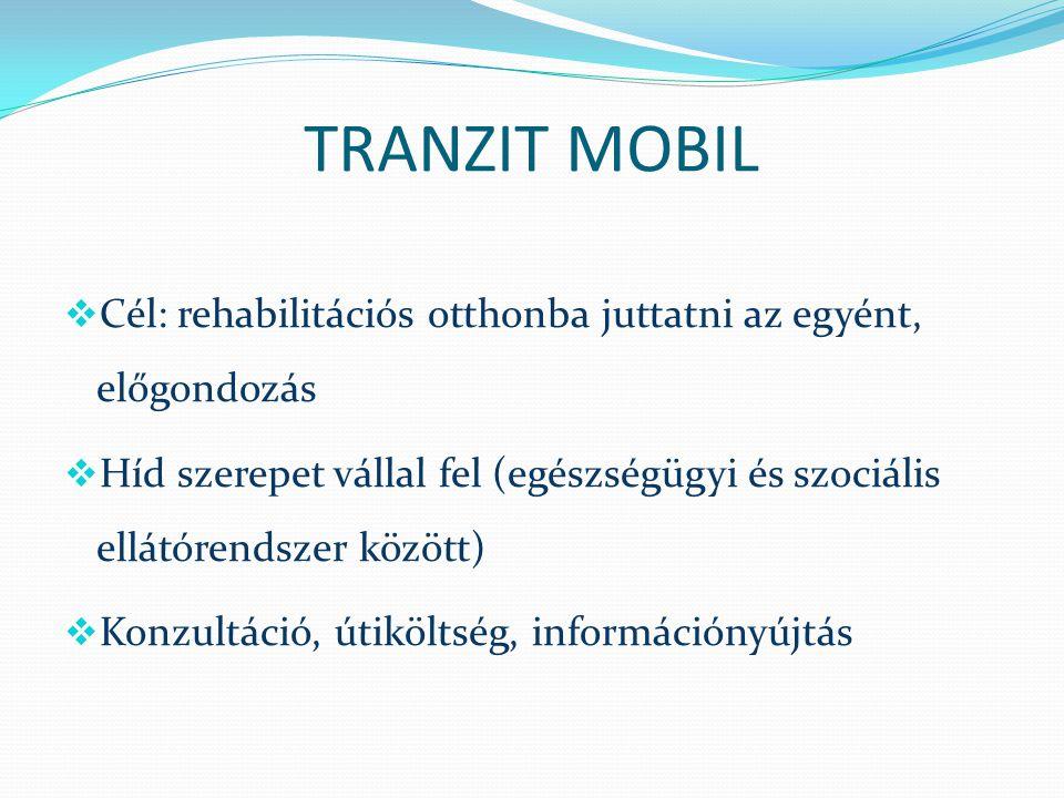 TRANZIT MOBIL Cél: rehabilitációs otthonba juttatni az egyént, előgondozás.
