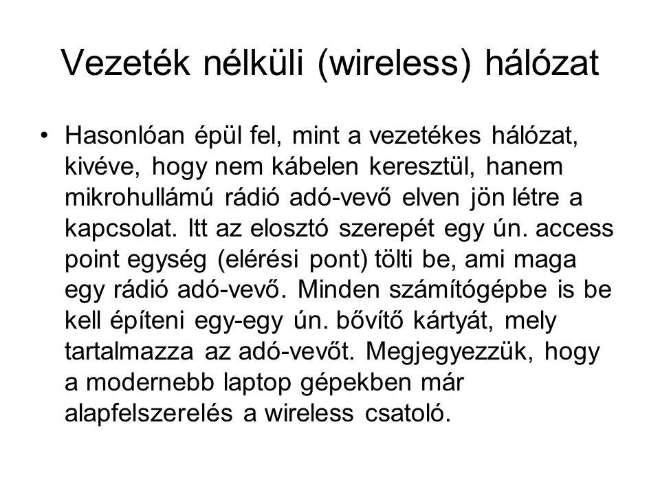 Vezeték nélküli (wireless) hálózat