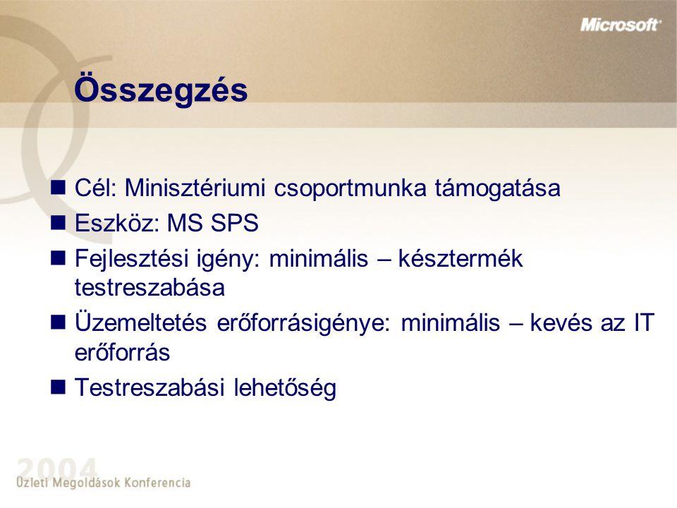 Összegzés Cél: Minisztériumi csoportmunka támogatása Eszköz: MS SPS