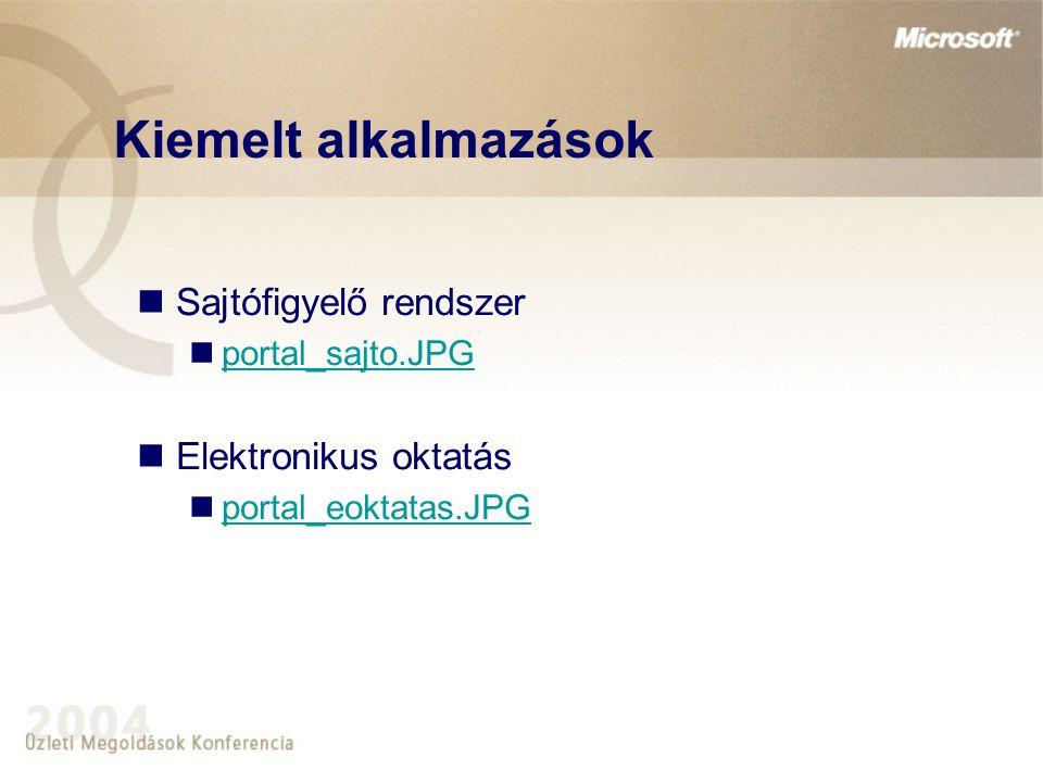 Kiemelt alkalmazások Sajtófigyelő rendszer Elektronikus oktatás