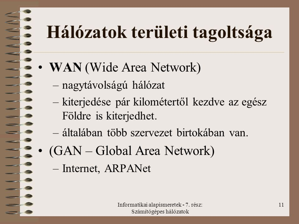 Hálózatok területi tagoltsága