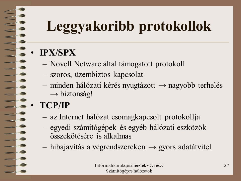 Leggyakoribb protokollok