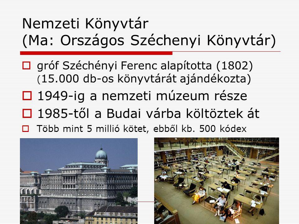 Nemzeti Könyvtár (Ma: Országos Széchenyi Könyvtár)
