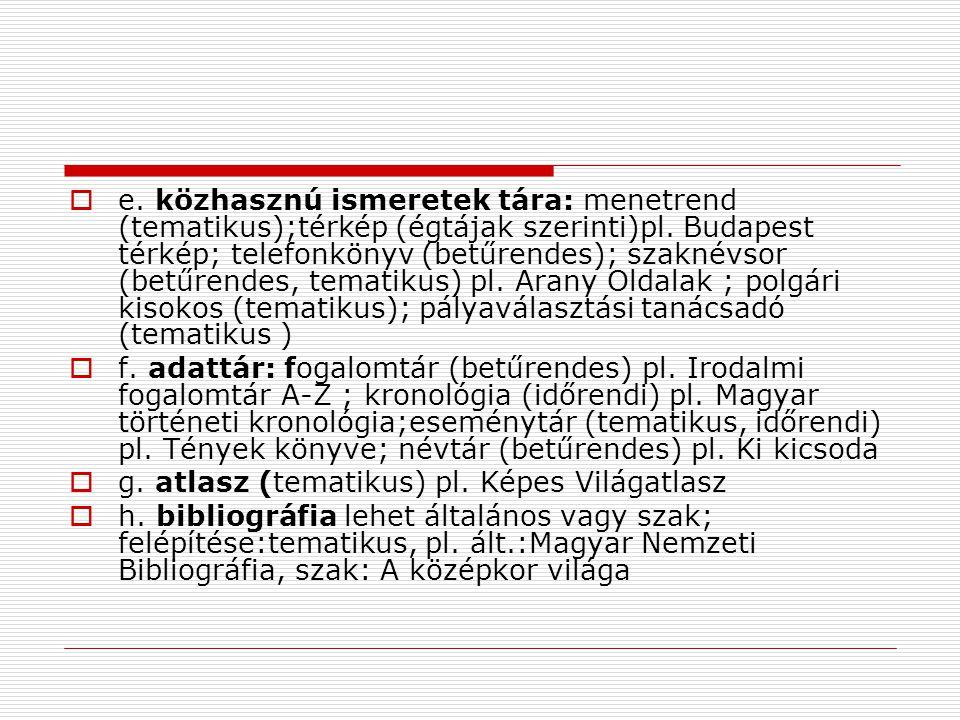 e. közhasznú ismeretek tára: menetrend (tematikus);térkép (égtájak szerinti)pl. Budapest térkép; telefonkönyv (betűrendes); szaknévsor (betűrendes, tematikus) pl. Arany Oldalak ; polgári kisokos (tematikus); pályaválasztási tanácsadó (tematikus )