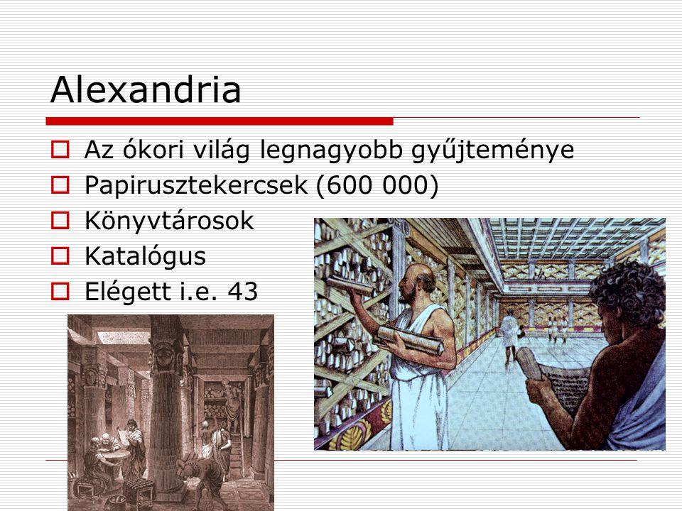 Alexandria Az ókori világ legnagyobb gyűjteménye