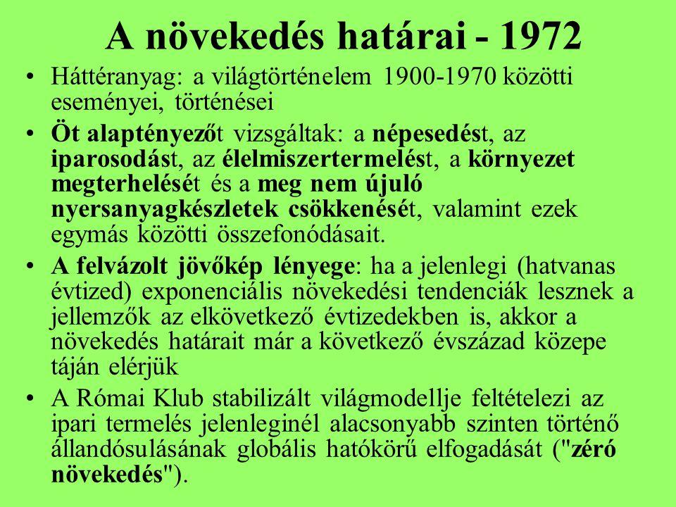 A növekedés határai - 1972 Háttéranyag: a világtörténelem 1900-1970 közötti eseményei, történései.