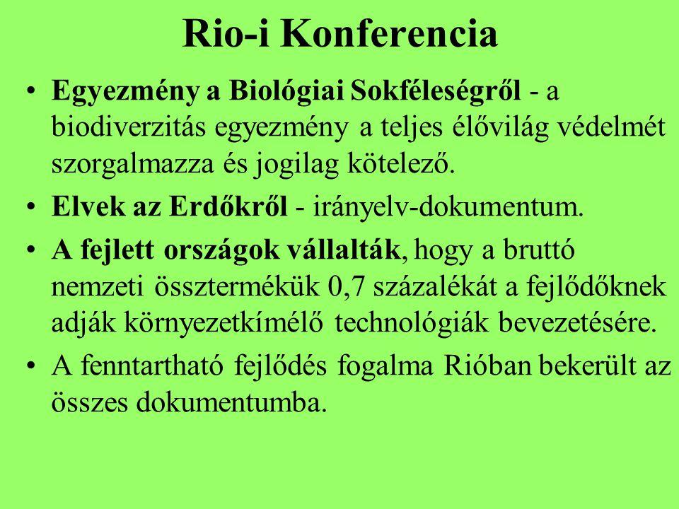 Rio-i Konferencia Egyezmény a Biológiai Sokféleségről - a biodiverzitás egyezmény a teljes élővilág védelmét szorgalmazza és jogilag kötelező.