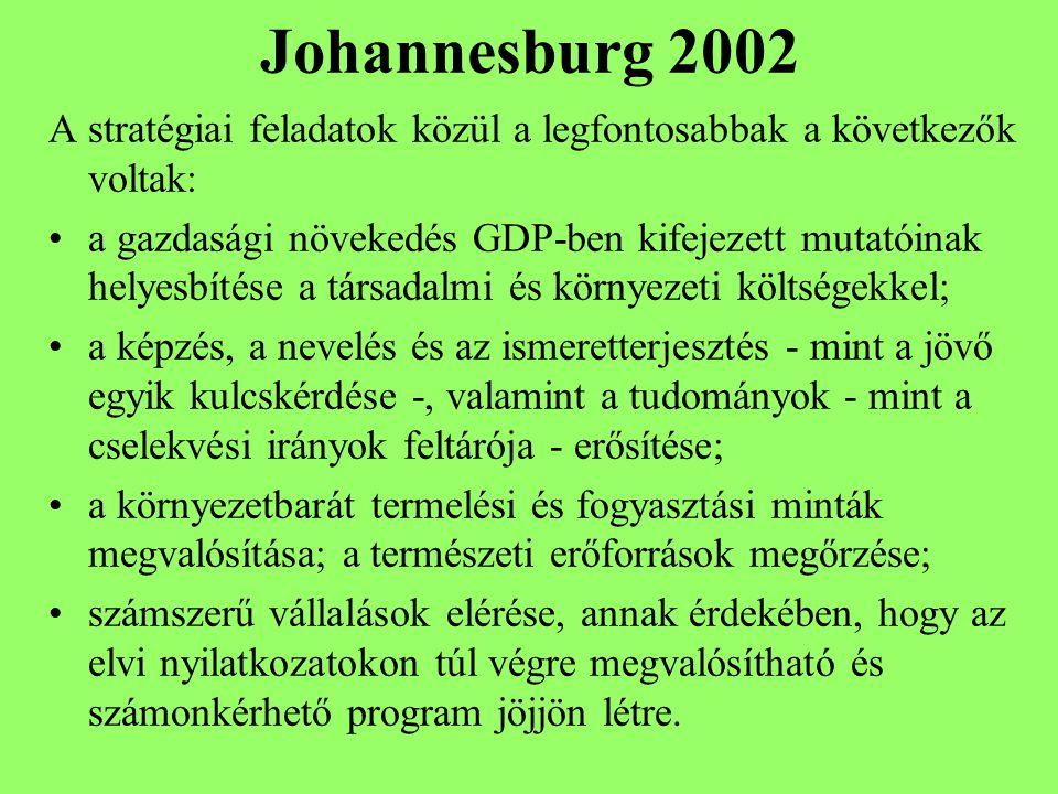 Johannesburg 2002 A stratégiai feladatok közül a legfontosabbak a következők voltak: