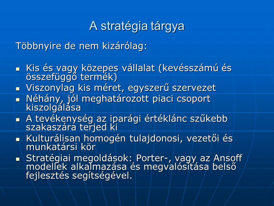 A stratégia tárgya Többnyire de nem kizárólag: