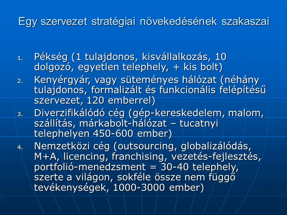 Egy szervezet stratégiai növekedésének szakaszai