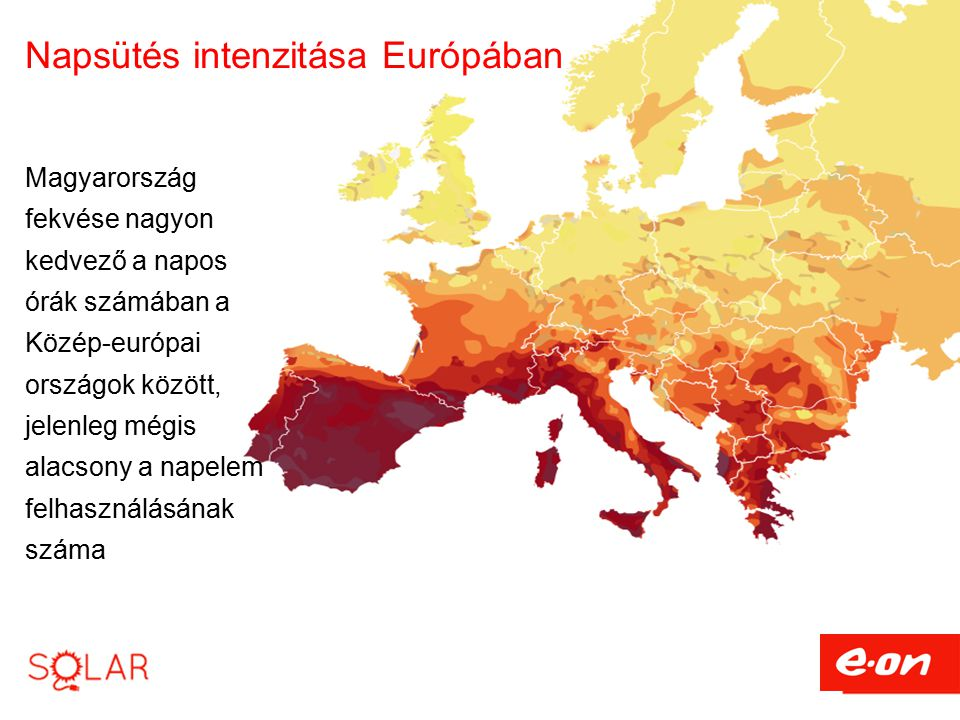 Napsütés intenzitása Európában