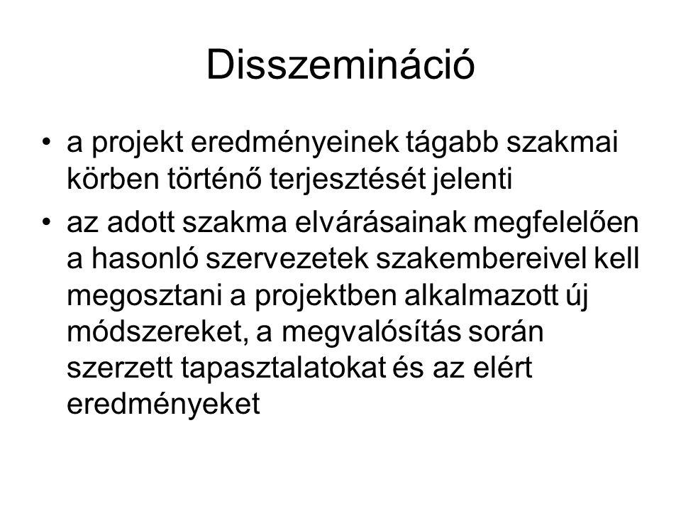 Disszemináció a projekt eredményeinek tágabb szakmai körben történő terjesztését jelenti.