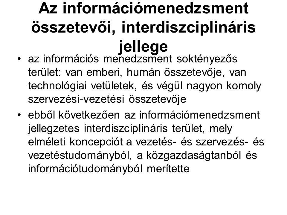 Az információmenedzsment összetevői, interdiszciplináris jellege