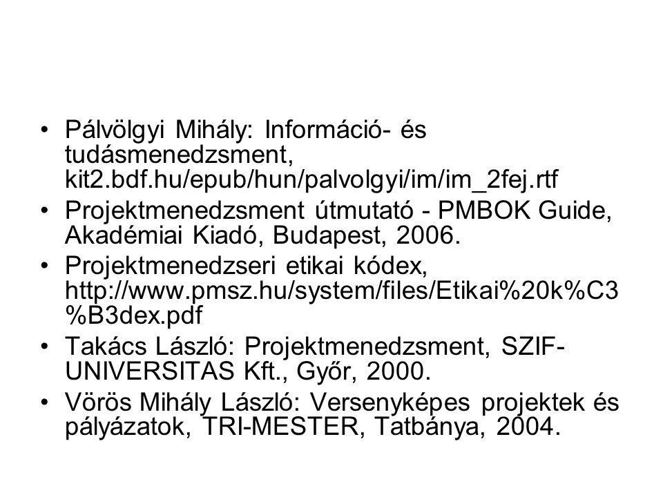 Pálvölgyi Mihály: Információ- és tudásmenedzsment, kit2. bdf