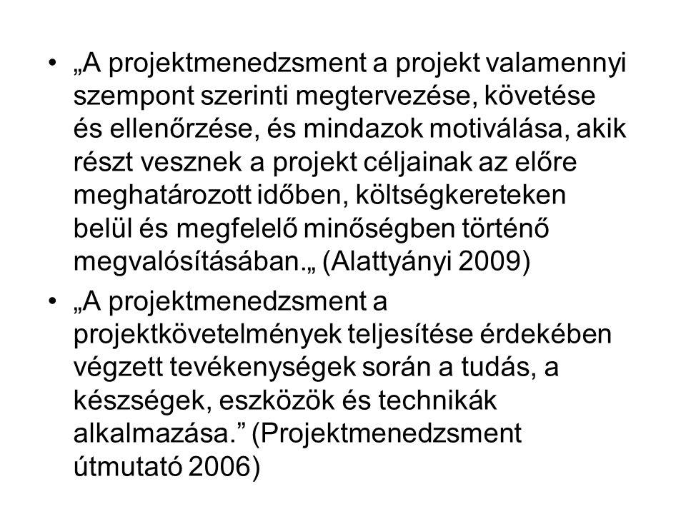 """""""A projektmenedzsment a projekt valamennyi szempont szerinti megtervezése, követése és ellenőrzése, és mindazok motiválása, akik részt vesznek a projekt céljainak az előre meghatározott időben, költségkereteken belül és megfelelő minőségben történő megvalósításában."""" (Alattyányi 2009)"""