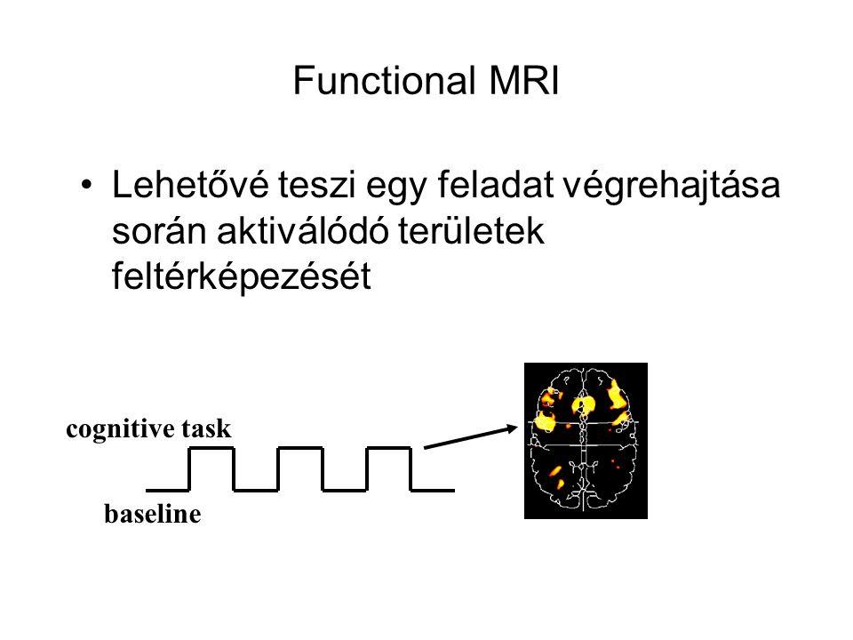Functional MRI Lehetővé teszi egy feladat végrehajtása során aktiválódó területek feltérképezését. cognitive task.