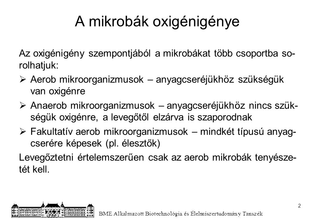 A mikrobák oxigénigénye