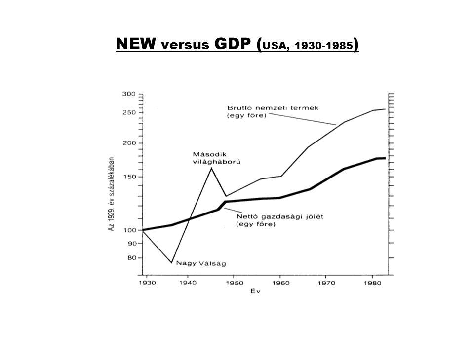 NEW versus GDP (USA, 1930-1985)