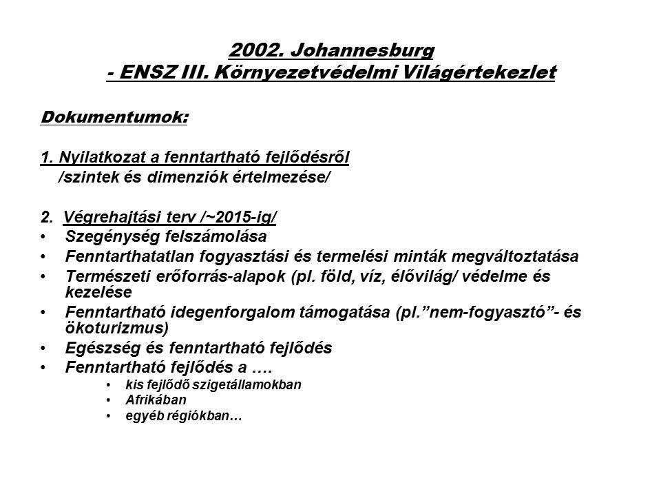2002. Johannesburg - ENSZ III. Környezetvédelmi Világértekezlet