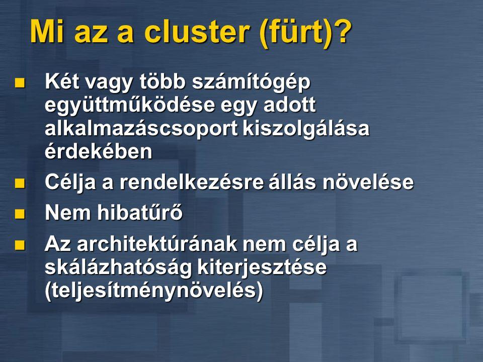 Mi az a cluster (fürt) Két vagy több számítógép együttműködése egy adott alkalmazáscsoport kiszolgálása érdekében.