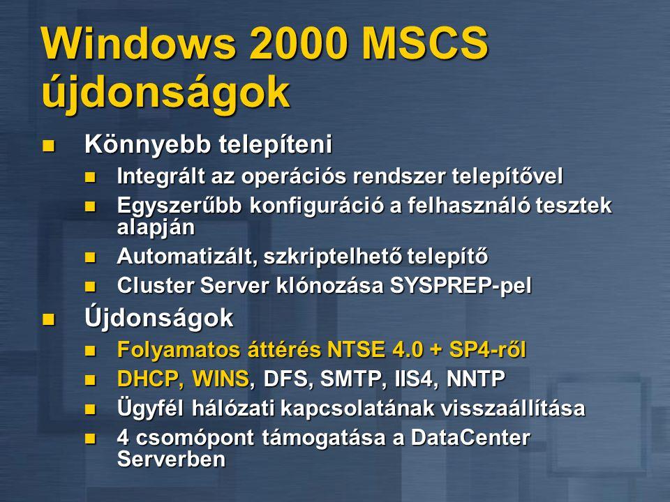 Windows 2000 MSCS újdonságok