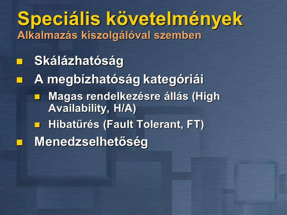 Speciális követelmények Alkalmazás kiszolgálóval szemben