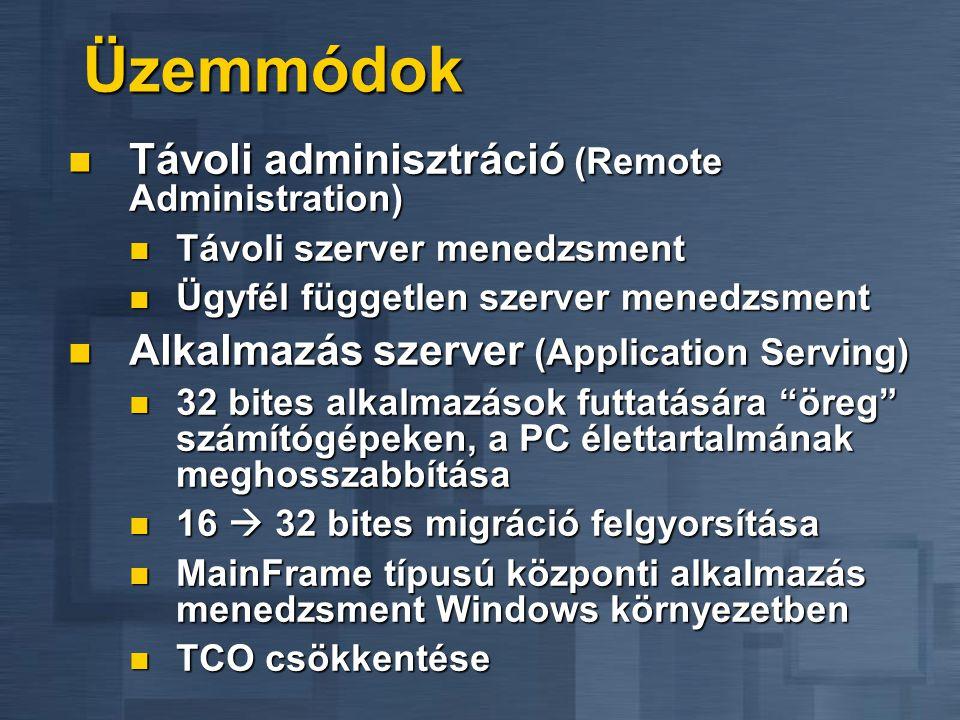 Üzemmódok Távoli adminisztráció (Remote Administration)