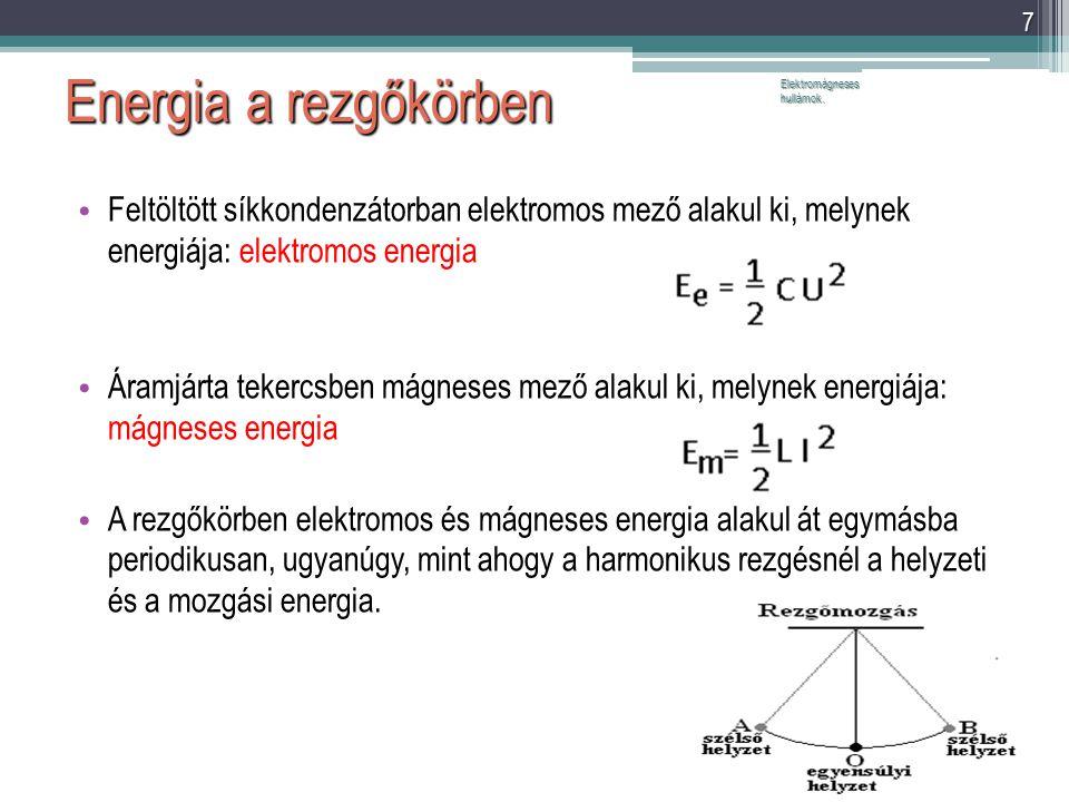 Energia a rezgőkörben Elektromágneses hullámok. Feltöltött síkkondenzátorban elektromos mező alakul ki, melynek energiája: elektromos energia.