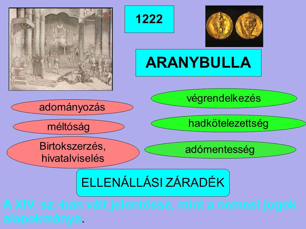 ARANYBULLA 1222 ELLENÁLLÁSI ZÁRADÉK