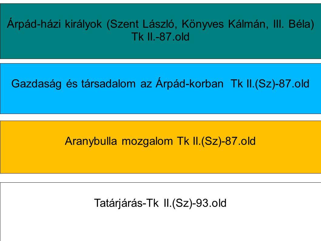 Gazdaság és társadalom az Árpád-korban Tk II.(Sz)-87.old