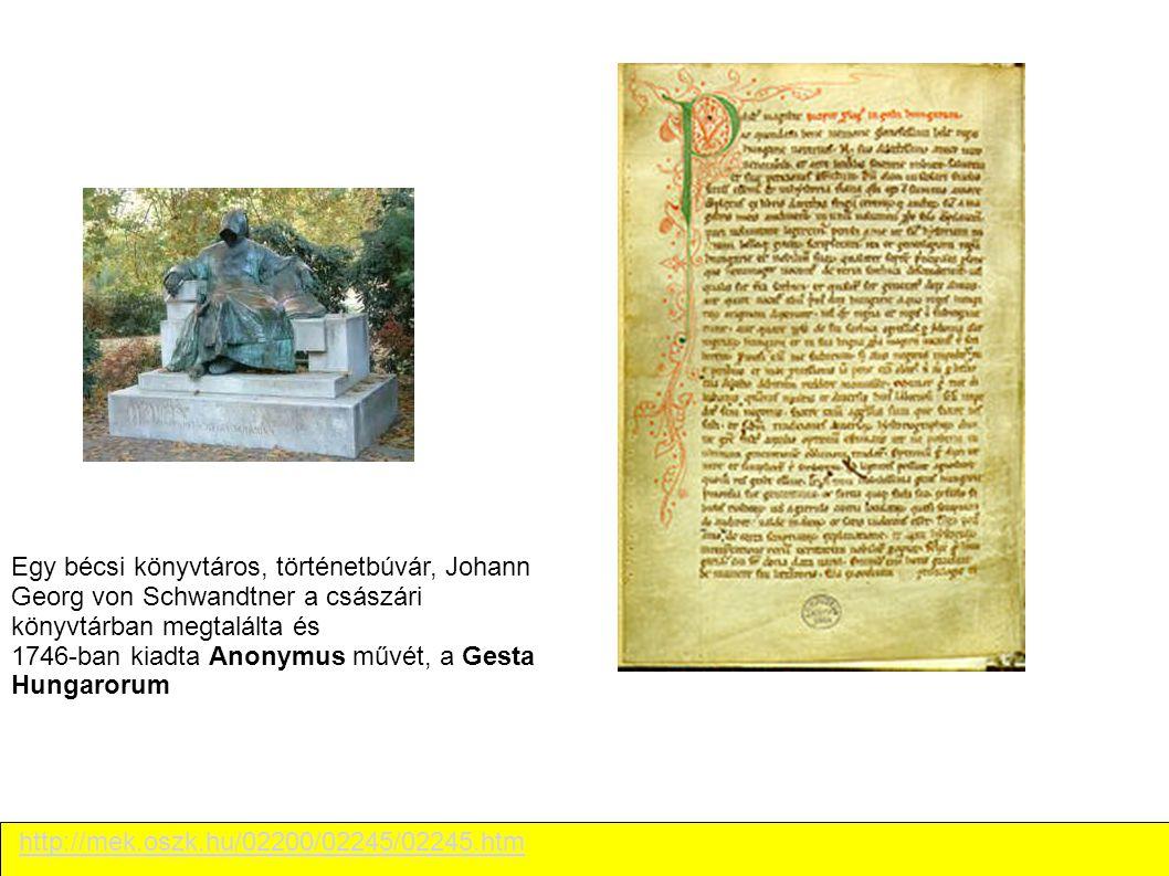 Egy bécsi könyvtáros, történetbúvár, Johann Georg von Schwandtner a császári könyvtárban megtalálta és