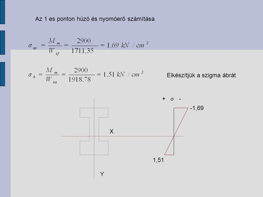 Az 1 es ponton húzó és nyomóerő számítása