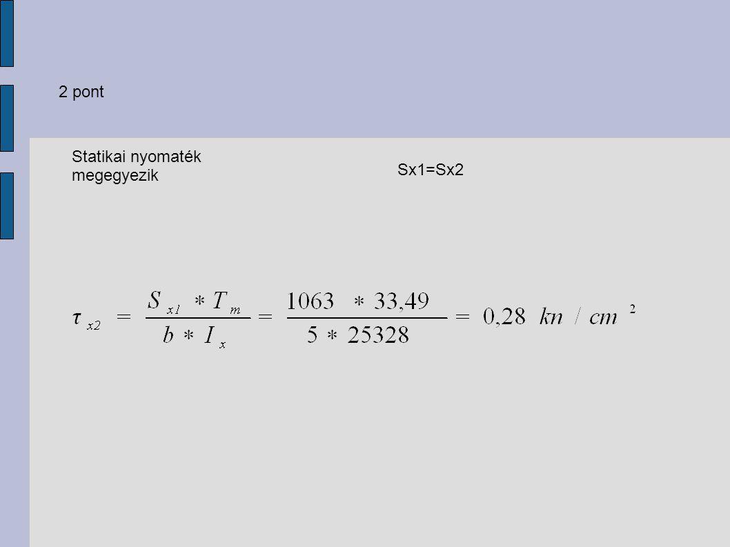 2 pont Statikai nyomaték megegyezik Sx1=Sx2