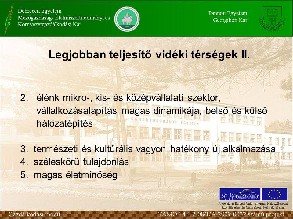 Legjobban teljesítő vidéki térségek II.