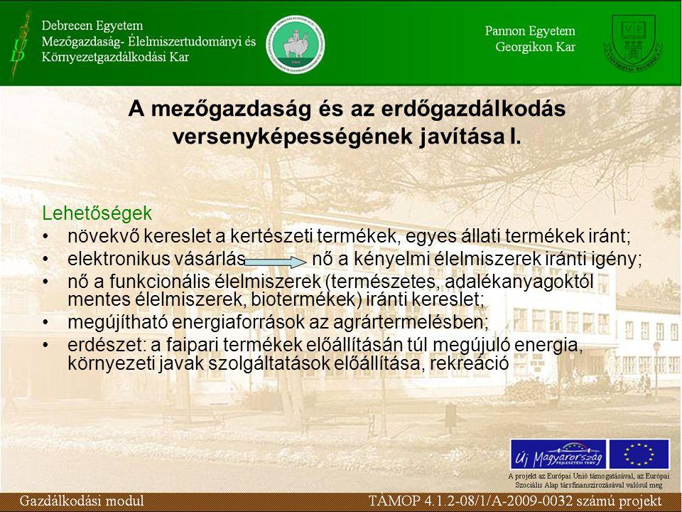 A mezőgazdaság és az erdőgazdálkodás versenyképességének javítása I.