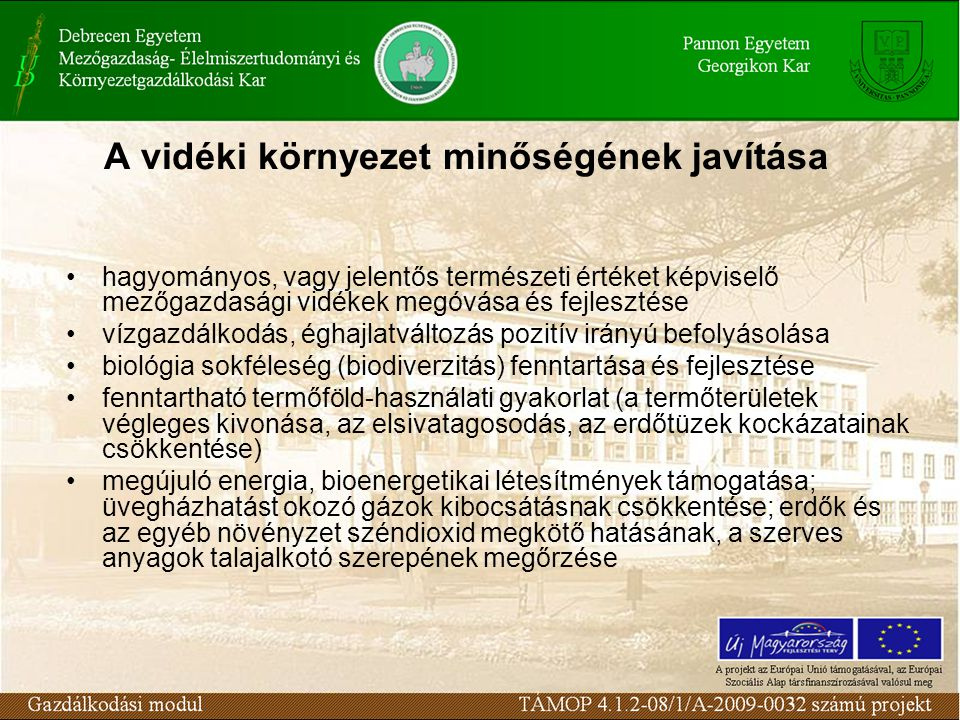 A vidéki környezet minőségének javítása