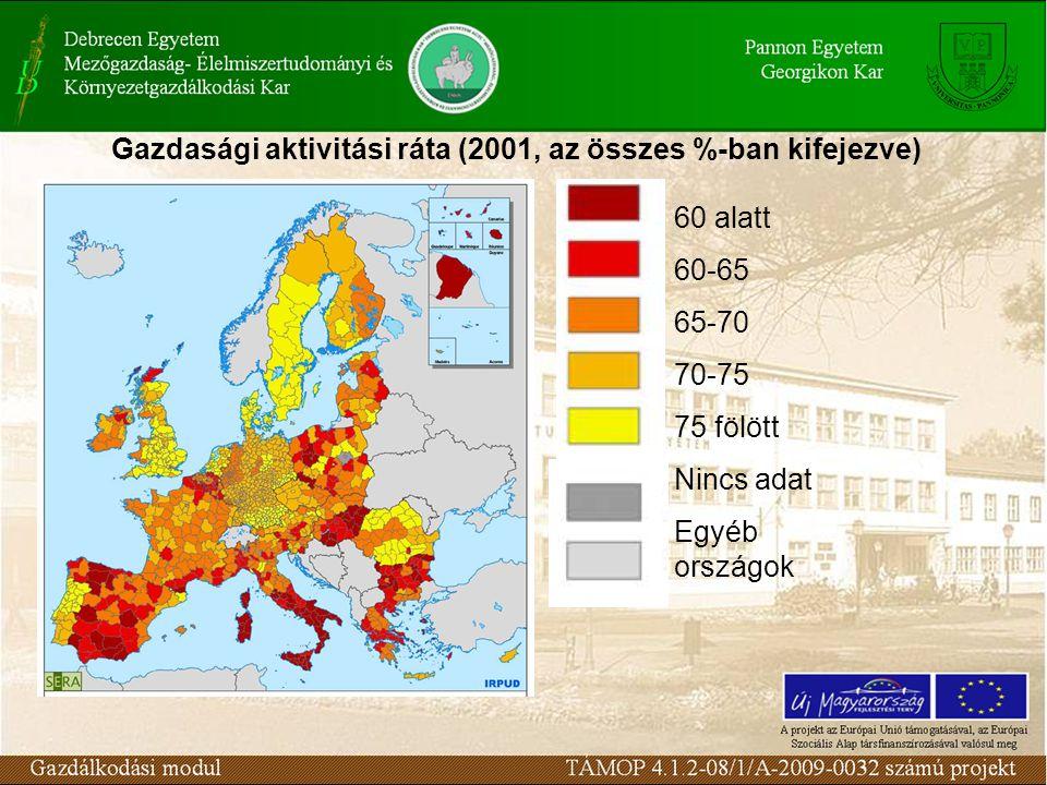 Gazdasági aktivitási ráta (2001, az összes %-ban kifejezve)