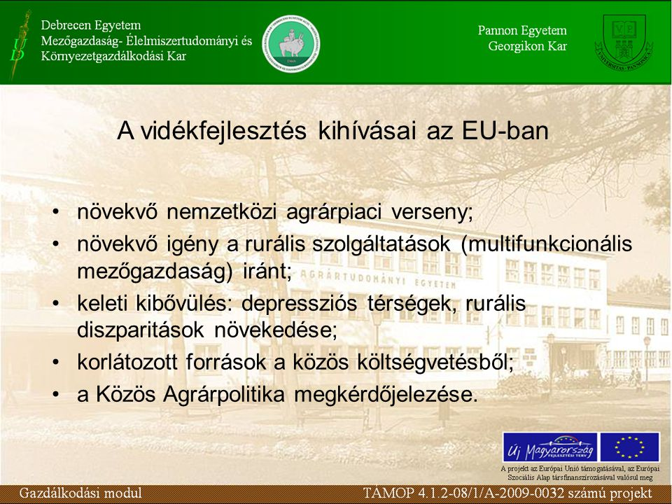 A vidékfejlesztés kihívásai az EU-ban