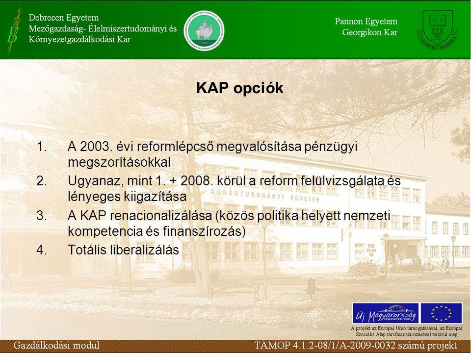 KAP opciók A 2003. évi reformlépcső megvalósítása pénzügyi megszorításokkal.