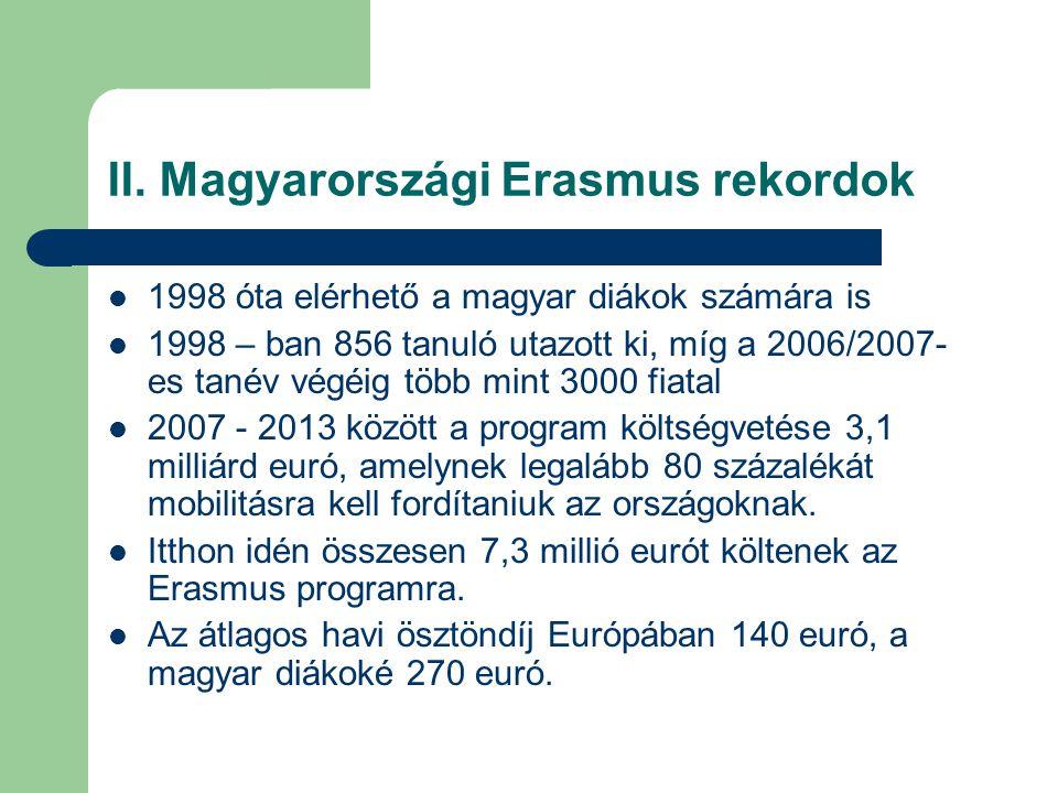 II. Magyarországi Erasmus rekordok